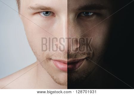 man portrait two sides concept, psychological photo