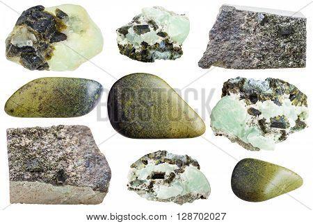 Set Of Various Epidote Natural Mineral Stones