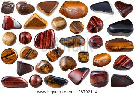 Set Of Various Tiger-eye Natural Mineral Stones