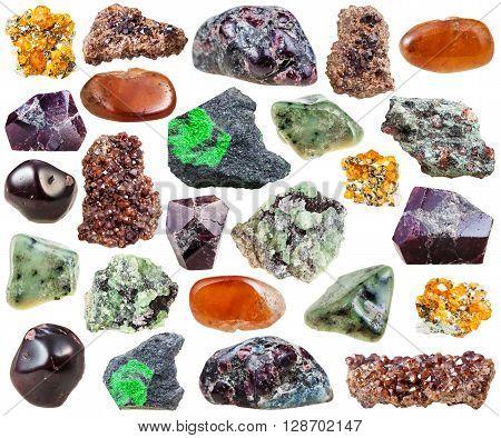 Set Of Various Garnets Natural Stones And Crystals