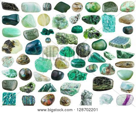 Set Of Green Mineral Stones And Gemstones