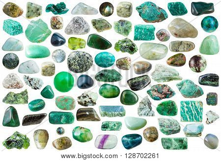 set of green mineral stones crystals and gemstones isolated on white background poster