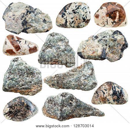 set of various nepheline (nephelite) natural mineral stones and rocks isolated on white background