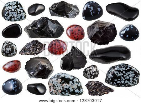 Set Of Various Obsidian Natural Mineral Stones