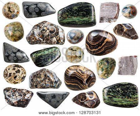 Set Of Various Natural Rhyolite Mineral Stones