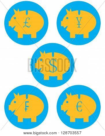 Set of piggy banks color icon. Dollar and pound moneybox currency and financia saving banking. Vector flat design illustration