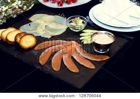 Stylish Luxury Decorated Tables With Fish Appetizer For Birthday Celebration, Cathering In The Resta