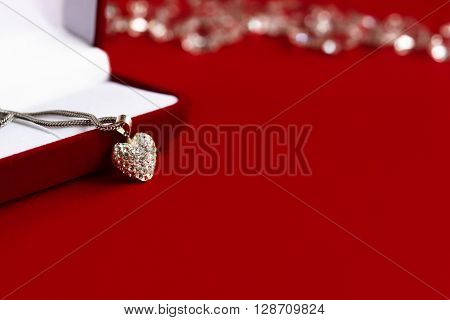 Luxury Heart Necklace With Stylish Diamonds On Red Background, Present And Love Concept, Valentine's