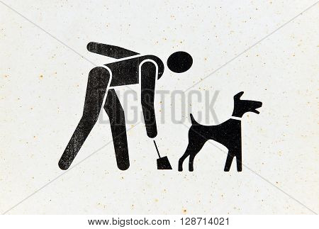 Rusty pick up dog waste sign, poop scoop