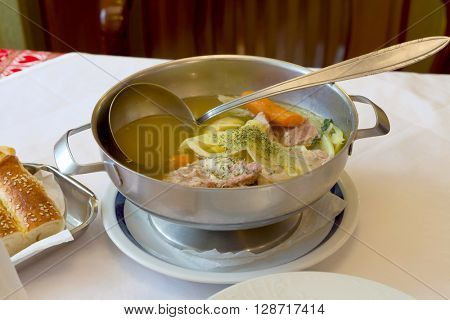 Cooked lamb's meat in a stew (Licka kalja - Croatian traditional food)