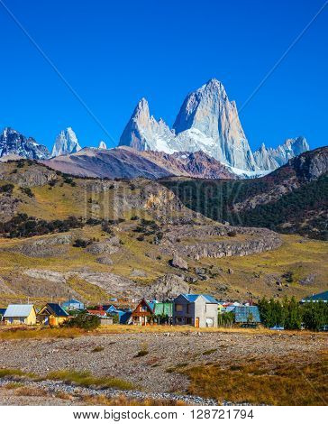 The town of El Chalten at the foot of fantastic rocks Fitz Roy. Incredible Patagonia