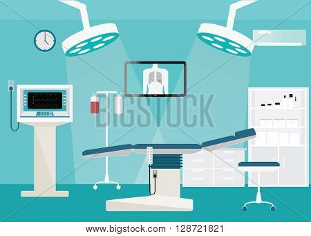 Medical hospital surgery operation room interior at the hospital with medical equipment vector illustration.