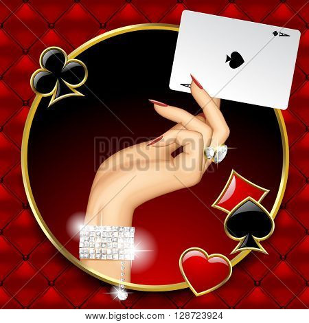 Hand of woman with jewelry holding Ace playing card in the round frame on red button-tufted leather background with suit symbols. Casino game concept design. Vector illustration