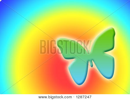 spring rainbow with 3d butterfly in gradient poster