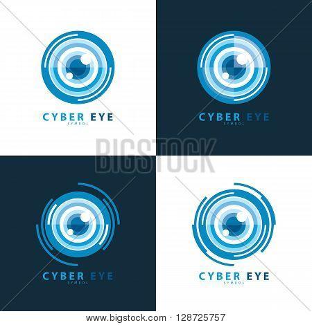 Set of cyber eye symbol icon. vector illustration Logo template design