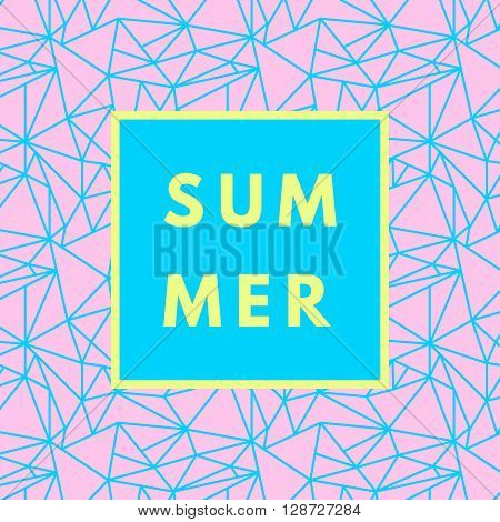 Summer hipster boho chic background with triangular geometric texture. Minimal printable journaling card, creative card, art print, minimal label design for banner, poster, flyer.