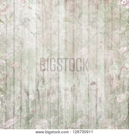 Wooden background with watercolor hand-painted scratched vintage floral texture for old style design