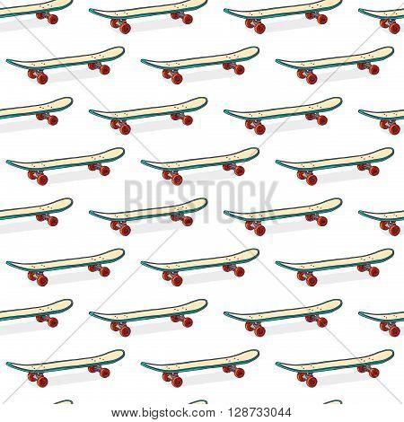 Seamless color pattern with skateboards. Pattern with skateboards for prints, fabric, stickers. Wallpaper with a pattern of skateboards in a linear style. Skateboard pattern for hipster design. Vector illustration