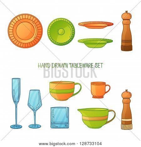 Kitchen utensil set. A set kitchenware. Kitchen utensils in hand drawn cartoon style. Kitchen dishes set. Kitchen utensils for serving. Silhouettes of kitchen dishes. Vector illustration