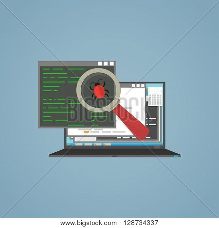 Flat illustration. Laptop and windows with frames. Magnifying glass search and find bug in program.
