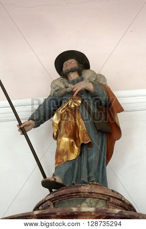 PRIMISWEILER, GERMANY - OCTOBER 20: Jesus the Good Shepherd, church of St. Clement in Primisweiler, Germany on October 20, 2014.