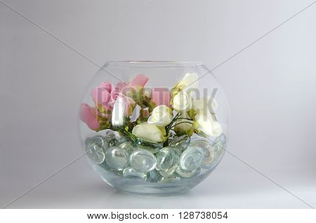 Bunch of Artificial Decorative Flowers on Transparent Vase