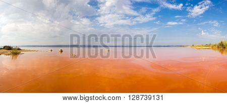 Salt lake called La Lagunas de la Mata Torrevieja Spain