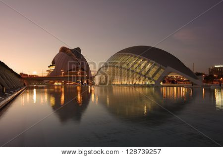 VALENCIA SPAIN - OCTOBER 07 2014: El Palau de les Arts Reina Sofia and L'Hemisferic in Valencia Spain