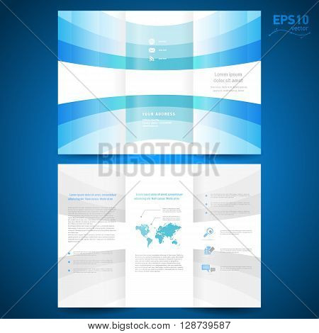brochure folder leaflet geometric abstract element perspective curve bend line blue white background