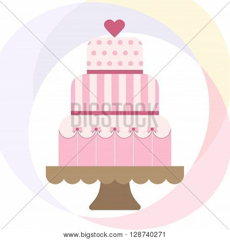 Vector illustration with wedding cake. For wedding invitations or announcements. Icon wedding cake. Sweet wedding cake.