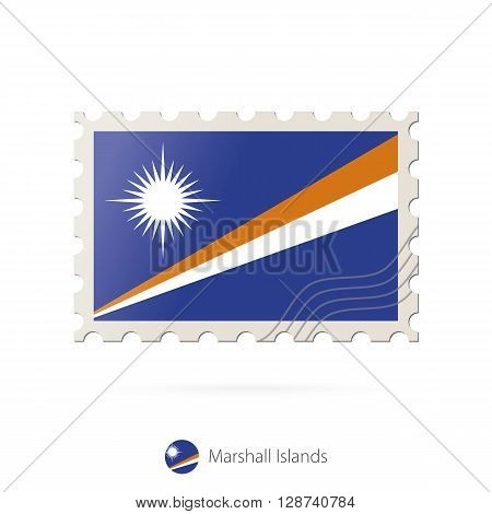 Postage Stamp With The Image Of Marshall Islands Flag.