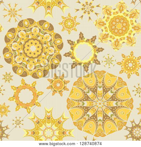Yellow seamless background with circle mandala ornaments.