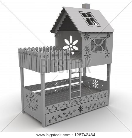 Children's bunk bed. Gray children's bunk bed on a white surface. Isolated. 3D Illustration