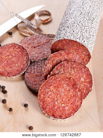 Image of slices of the winter sausage