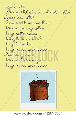 Raspberry Cake recipe. Hand drawn vector stock illustration