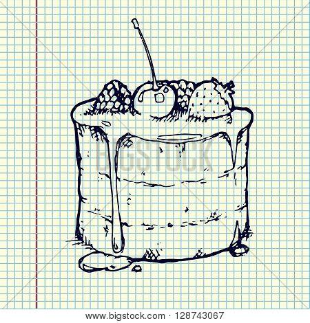 Raspberry Cake on sheet. Hand drawn vector stock illustration