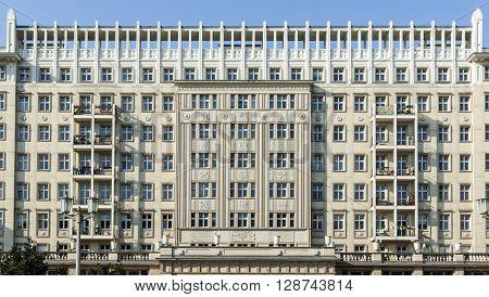 Facades Of Old Socialist Gdr Era Apartment Buildings On Karl Marx Allee In Former East Berlin German