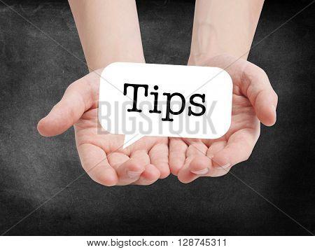 Tips written on a speechbubble