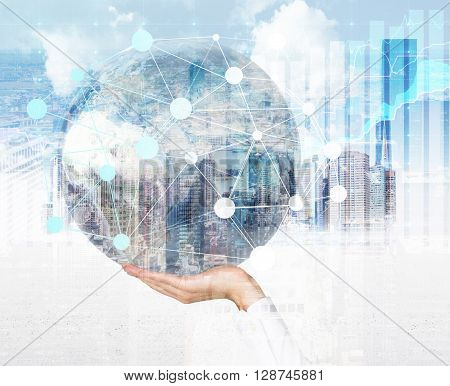 Male hand holding globe with networking system around on Singapore city background. Double exposure.