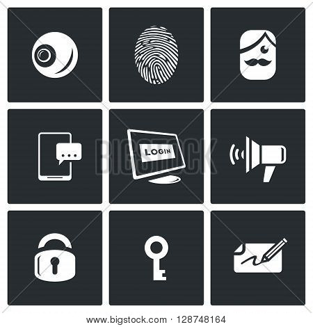 Vector Set of Security Technology Icons. Retinal scan, Fingerprint identification, SMS, Password, Speech synthesis, Locking, Unlocking, Signature.