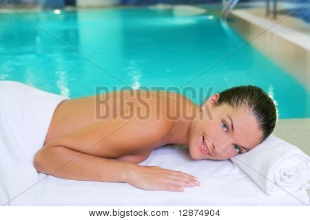 Spa Pool Woman Relaxed On White Towel