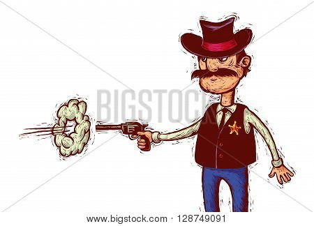 Cartoon sheriff with cowboy hat fires his gun linocut style poster