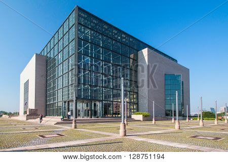 Zagreb, Croatia, May 7 2016: Building of the national and university library in Zagreb, Croatia, modern architecture, glass facade