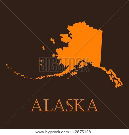 Orange map of Alaska - vector illustration. Simple flat map of Alaska on a brown background.