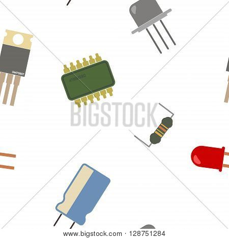 Seamless background with electronic components icons for your design