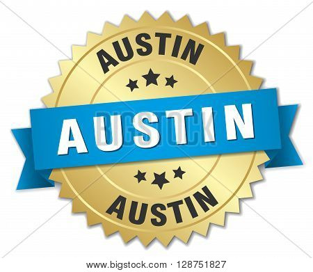 Austin round golden badge with blue ribbon