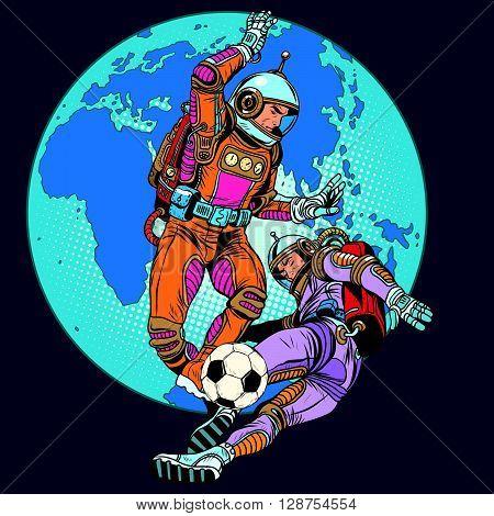 Football soccer match astronauts play pop art retro style. In zero gravity astronauts men play. Retro football. Future fantasy football