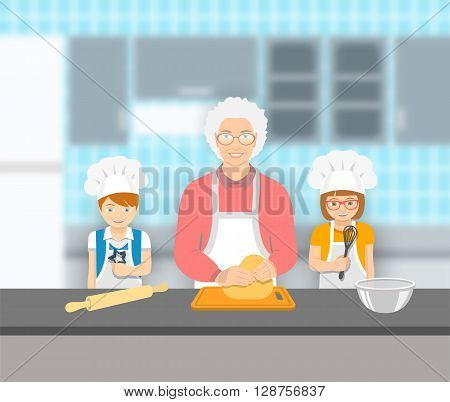 Grandmother and kids bake together at a kitchen. Granny kneads pastry happy grandson and granddaughter help her. Family baking home cookies pie or cake. Vector flat illustration. Leisure activity