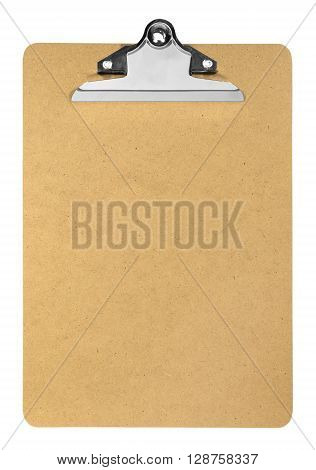 clipboard with white paper isolated on white