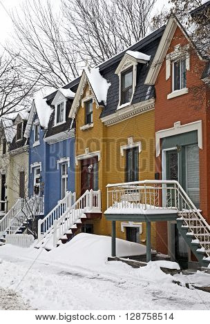 Colorful street of Montreal Canada in winter season